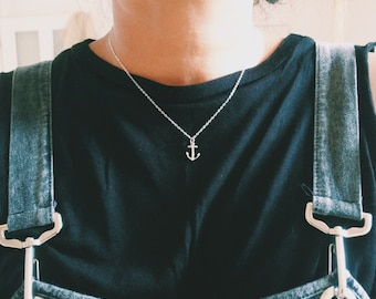 Anchor Necklace - Sterling Silver or  Gold Vermeil