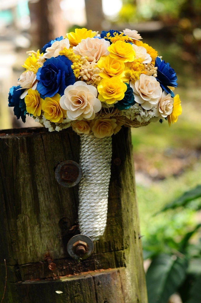 Wooden flowers bouquet royal blue and yellow wooden bouquet zoom junglespirit Images