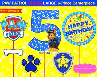 PAW PATROL CENTERPIECE Chase Number 5 Dark Blue. Paw Patrol Printable Centerpiece. Paw Patrol Party Decorations. Paw Patrol Photo Booth Prop