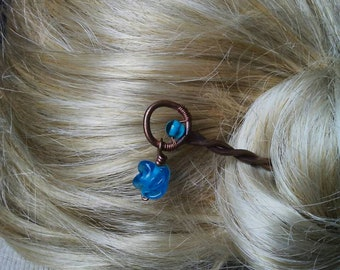 Hammered Copper Twist Hair Stick Blue Glass