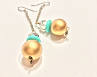 GIlSTAD Gold and Teal Chain Drop Dangle Earrings >>Handmade<< >>One-of-a-Kind<<