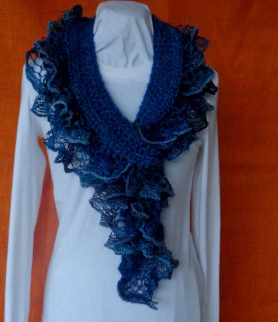 Crochet Scarf Pattern Crochet Scarf with Ruffle Yarn Edging