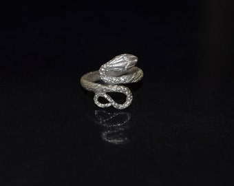 Silver snake ring, animal ring sterling silver adjustable ring, serpent ring