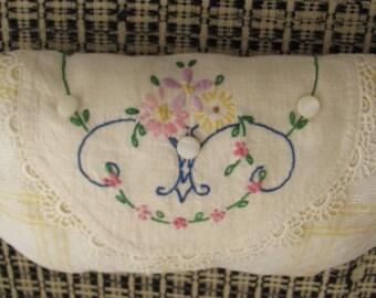 Vintage Linen Handmade Toothfairy Pillow