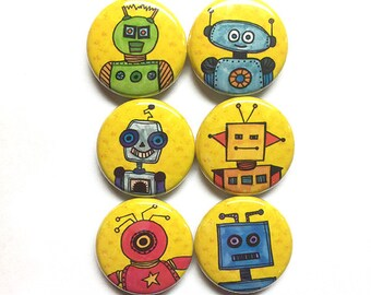 Robot Magnets or Pins - 1 Inch Pinback Button or Magnet set - Robotic Sci Fi Fridge Magnets or Button Badges - Science Gift or Party Favors