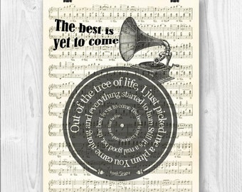 Frank Sinatra Print, The best is yet to come, Frank Sinatra Lyrics in spiral, sheet music reproduction, musical Wedding gift, Wedding song
