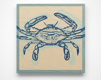 Coastal Art, Atlantic Blue Crab Art Block, Coastal Gifts, Beach Gifts, Crab Prints for Bathroom, Beach Decor, Beach Art, Blue Crab Decor