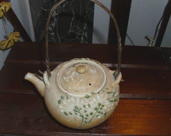 Gorgeous Old Arts and Crafts Pottery Ceramic Teapot with Metal Handle Stylized Flowers Dandelion Chrysanthemums Pattern