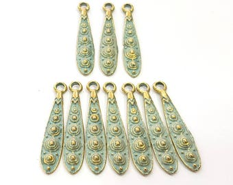 12 Patina Blue Charms Antique Blue Charms  , Faux Patina over Antique Bronze Tone (34x7mm) G9204