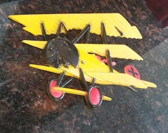 Vintage Homco Metal Bi Plane Wall Art airplane Boys Room Decor