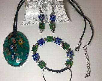 Murano style glass jewelry set