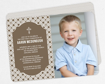 First Communion Invitation, First Holy Communion Invitation, Photo Communion Invitation, DIY Invite, PDF Invitation, Boy Invite, Brown Aaron