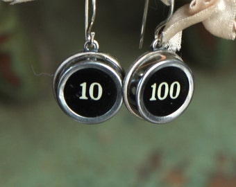 Typewriter key earrings, vintage, steampunk, retro, antique, victorian, jewelry, up cycled,