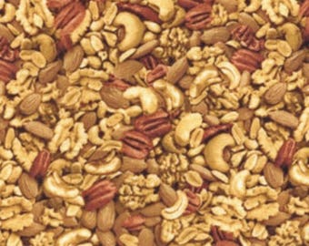 Nuts novelty fabric - realistic [[by the half yard]]