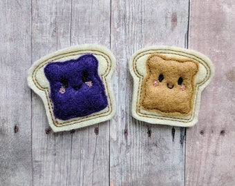 Peanut Butter or Jelly Toast Accessory, Beige or Purple Acrylic Felt, Choose Hair Clip, Pin, Headband, Magnet, Ponytail, Shoe Clip, Barrette