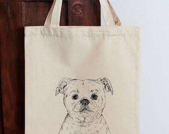 Staffordshire Bull Terrier Tote Bag, Staffie Shopping Bag, Dog Bag  Illustrated Tote, Market Bag, Gift for Dog Lover, Cotton Bag, Calico Sac