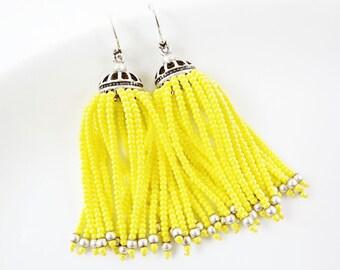 Yellow Beaded Tassel Dangly Statement Earrings - Sterling Silver Earwire