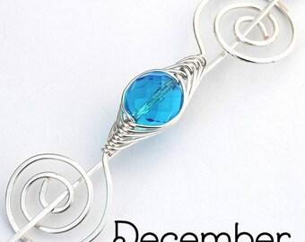 December Zircon Birthstone Shawl Pin