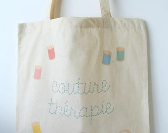 "Tote bag ""Sewing therapy"" - DIY gift sewing gift MOM gift Grandma gift she sewing gift Christmas gift"