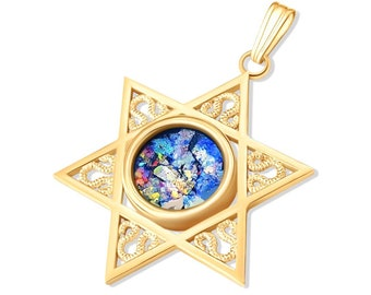 14K gold Star of David Roman Glass pendant Necklace