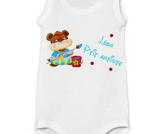 Onesie tank p' artist little personalized with name