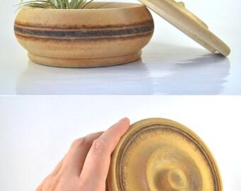 Vintage Wooden Box, Vintage Wooden Bowl with Lid, Small Trinket Box, Folk Art, Bohemian Bowl, Wood Burned Box, Rustic Wood Box