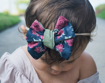 Navy blue floral faux wrap bow with green
