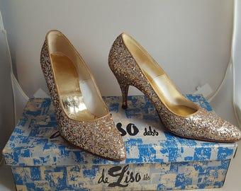 Vintage Deliso Debs Gold Glitter High Heel Shoes Sz 5.5
