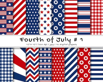 Fourth Of July Digital Paper Pack | 4th of July Digital Papers | Patriotic Red, Navy Blue and White Patterns