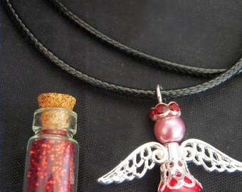 Tooth Fairy Gift Set - Tooth Fairy Dust Vial, Glass Pearl Angel Necklace  in RED. A lovely surprise from the TOOTH FAIRY
