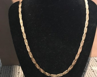 Vintage gold plated long chain necklace