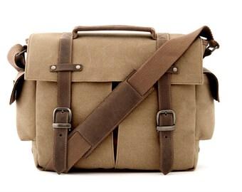 Camera Bag, School Bag, Messenger Bag, Shoulder Bag, Crossbody bag, Handbag, Travel Bag, College Bag, Canvas Bag, Bag, TAN CANVAS / TRAIL