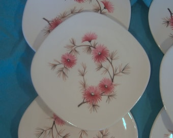 Edwin Knowles - Coral Pine Pattern - Criterion Shape - Bread and Butter Dessert Plates - Set of 6