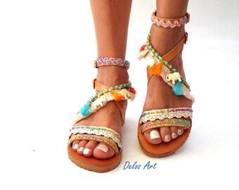 "Leather Boho Sandals, ""OM"",  Leather sandals, white elephant Greek Sandals, Handmade Sandals, summer sandals, Bohemian sandalsMade with love"