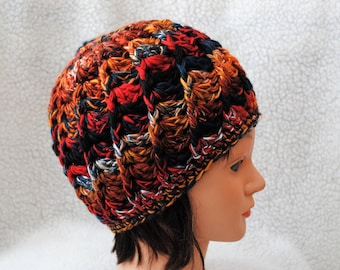 pheasant colorway merino/silk/tencel/angelina blend/hand spun wool/crochet adult hat/beanie