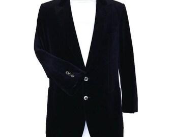 80s Velvet Jacket, Blue Black,  Velvet Blazer, Dark Blue, 1980s  Evening Jacket, Cotton Velvet, Velvet Evening Jacket, Midnight Blue Jacket