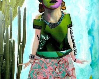 La Friducha: Cactus, Frida Kahlo-inspired Art Print