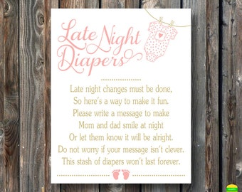 PRINTABLE Late Night Diapers Sign-Printable Baby Shower Sign-Baby Shower Game Sign-Diapers Thoughts-Baby Girl Baby Shower-Instant Download
