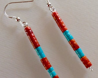 Native American Santo Domingo Apple Coral Turquoise Sterling Dangle Earrings