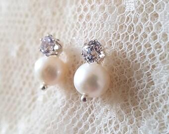 PRECIOUS CZ Stud Earrings with Freshwater Pearl Drops, Pearl bridal earrings, pearl &  cubic zirconia wedding earrings, CZ studs, Pearl drop