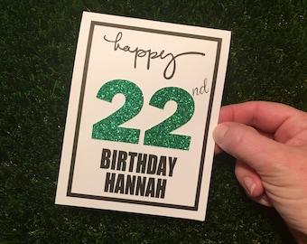 Milestone Birthday Card / Personalized Birthday Card / Glitter Birthday Card / Birthday Card for Friend / Custom Birthday Card /