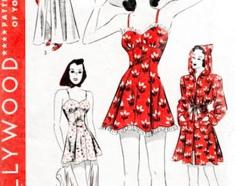 1940s 40s pattern // beachwear playsuit hooded coat // vintage sewing pattern reproduction // Bust 34