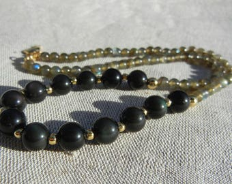Labradorite and Rainbow Obsidian necklace