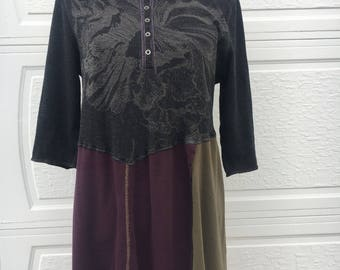 Upcycled clothing, womens tunic, womens xl tunic, upcycled womens xl, womens xl, top stitched tunic, upcycled tunic