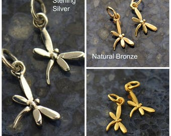 Sterling Silver, Dragonfly Charm, Dragonfly Jewelry, Silver Dragonfly, Insect Charm, Insect Jewelry, Silver Insect, Tiny Dragonfly