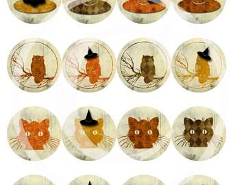 "Printable Halloween 2"" Circles - Digital Collage Sheet"