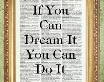 Typography Art Print Dream Wall Art Quote Dictionary Art Prints  a MHP Original  Inspirational Wall Print