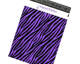 "Purple Zebra Printed Poly Mailers 10x13"" - Pack of 100 - FREE SHIPPING"
