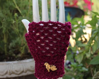 Burgundy  Fingerless Gloves With Gold And Silver Shoe Buttons One Size