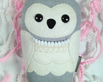 Owl plush, snowy owl, handmade stuffed toy woodland friend, princess Lena